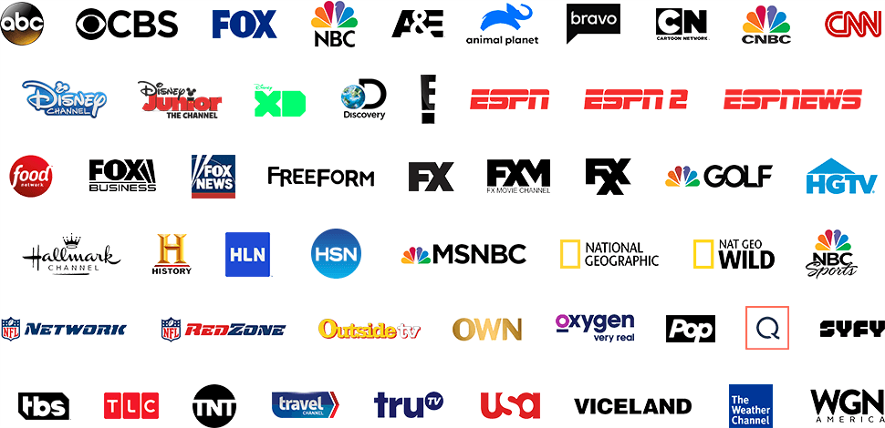 Logo grid of available TV networks