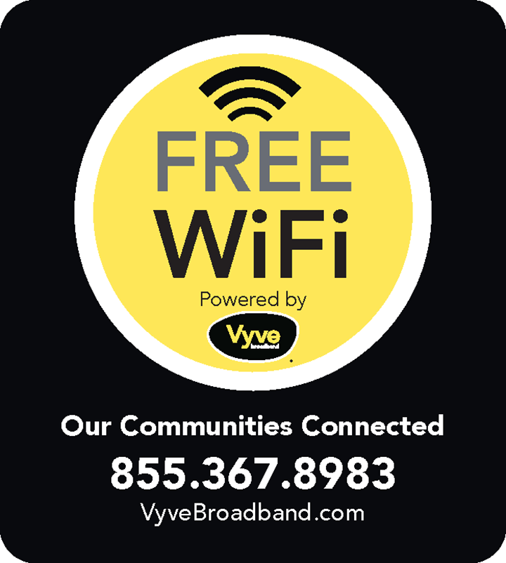 FREE WiFi Powered by Vyve - 855.367.8983
