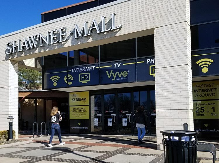 Shawnee Mall branded with Vyve window graphics